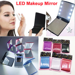 In stock LED Makeup Mirror Cosmetic Portable Folding Pocket Lady mirror 8 LED lights Lighted Travel Makeup Mirror Lamps DHL Free Shipping