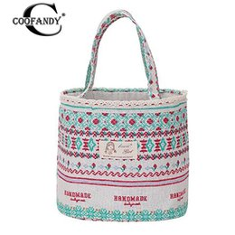 packing containers 2019 - Portable Insulated Lunch Pack Print Cotton Linen Thermal Lunch Bag Outdoor Picnic Container Round Drawstring Bento Box P