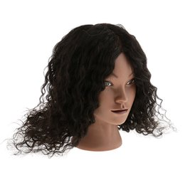 human hair mannequins UK - Hairdressing Cosmetology Silicone Practice Training Mannequin Manikin Head With 100% Human Hair Fluffy Curly Black
