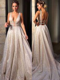 $enCountryForm.capitalKeyWord Canada - New Style Sparkly V Neck A Line Bling Bling Backless Sweep Train Custom Made Pleats Wedding Dresses Bridal Wedding Gowns