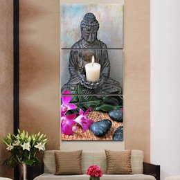 $enCountryForm.capitalKeyWord NZ - Hd Print Canvas Painting 3 Panel Buddha Art Flower Candlelight Stick On The Wall For Living Room Home Decor Modular Pictures