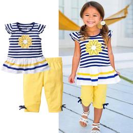 Zebra Striped Shirt Girls NZ - T-Shirt +shorts 2 Piece Sets Summer kids clothes suit Striped printed T-Shirt solid shorts kids designer clothes girls DHL JY200