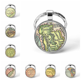 map keychain Australia - Newest Metal Keychain Handmade Vintage Kansas World Map Earth Geography Key Chain Glass Dome Keychains For Men Women Gift