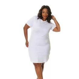 5f267a9463c1 Fashion Women Loose Dress Round Neck Side Slit Casual T-shirt Mini Dress  Black White Vestido Bodycon Gaun Bodycon
