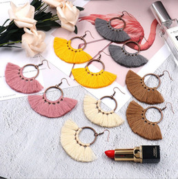 Discount handmade african pendants - New design ladies tassel earring bohemian style women handmade stylish earrings sector hanging earrings tassel pendant