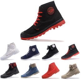 palladium shoes leather Canada - Hot Sale New PALLADIUM Pallabrouse Men High Army Military Ankle mens women boots Canvas Sneakers Casual Man Anti-Slip Shoes 36-45