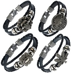 mens handmade leather bracelets NZ - 19 styles Cool Handmade Black Leather Braided Mens Bracelets Wristband Cuff Vintage Engraved Dragon Bracelet Ethnic Indian Jewelry pksp2-3