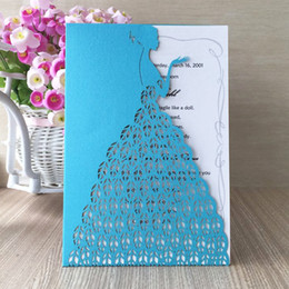 Day Wedding Dresses Australia - 30Pcs  lot Sweet Bridal Wedding Invitation Cards Envelope Fancy Dress Party Lady Lovely Invitations Valentine's Day Exquisite Gift