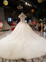 New Luxury ball gown wedding dresses off shoulder sweetheart lace up  wedding dress with long train from china 100% real as photos d04f5dc8e9ed