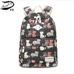 $enCountryForm.capitalKeyWord Australia - FengDong child schoolbag kids cute cat backpack female casual canvas printing backpack school bags for girls back pack rucksack