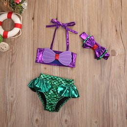 mermaid costume set NZ - Hot Fashion Princess Baby Little Girls Mermaid Bandage Bikini Set Swimwear Swimsuit Bathing Suit Bathing Beach Swimming Costume