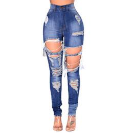 8999b780327f6 2018 nouveau style trou serré hauteur taille elastique faire ancienne taille  augmenter jean slim petits pieds crayon pantalon femmes jeans