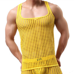 undershirt sleeveless NZ - Mens Vest Mesh See Thtough Tops Tees Hollow Out Breathable Tank Sexy Male Sleeveless Tanks Lingerie Homwear Gay Undershirts T200408