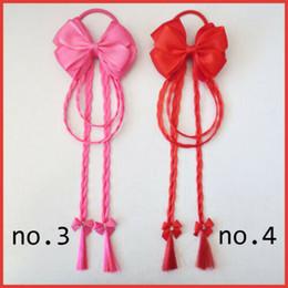 "Hair Headband Plaits Australia - New arrival Girl 3.5"" Fashion Hair Plait Streamers Bow Colorful Flower Wig Elastic Women 10pcs"