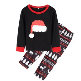Fallen Hats Australia - Black New Fall and Winter Housewear Christmas Hat Printed Parent-Child Suit Family Wear Sleepcoat Pajamas YY0056