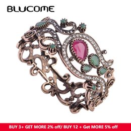 $enCountryForm.capitalKeyWord Australia - resin bangle Blucome Turkish Jewelry Wide Big Size Red Resin Bangles Antique Gold-color Vintage Women Bijoux Water Drop Crystals Bracelets