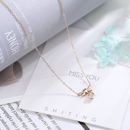 14k Twisted Chains Australia - Shake The Same Dragonfly Diamond Creative Necklace Rose Gold Titanium Steel Jewelry Women's Colorfast Retro Hot Bone Chain