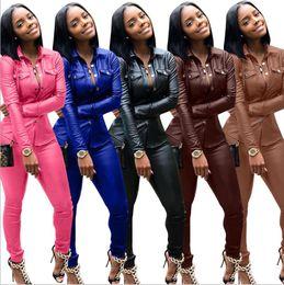 $enCountryForm.capitalKeyWord Australia - Women Leather Designer Spring Suits Autumn Fashion Slim Fit Sports Tracksuits Jacket Pants 2pcs Sets