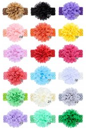 $enCountryForm.capitalKeyWord Australia - 18 color baby chiffon flower headband elastic crochet hairbands kids headwear soft stretchy children hair band solid color hair accessory