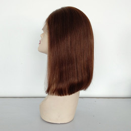 Cheap Remy Indian Human Hair Wigs NZ - Baby Hair Brazilian Human Remy Hair Lace Frontal Wig 12 Inche #4 Color Lace Front Wig Cheap Hair