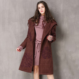 1b31e1dc634f Retro Lattice Hooded Woolen Coat Women Brown Loose Embroidery  Single-breasted Long Trench Coat Female Thick Woolen Overcoat