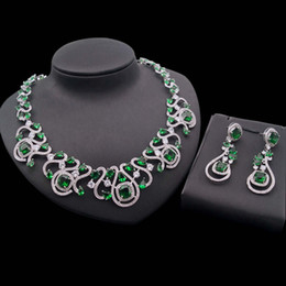 China beautiful braCelet online shopping - Yulaili High Quality Hot Sale Trendy Green Colour Zircon Design Necklace Pendant Earrings for Women Wedding Beautiful Jewelry Sets