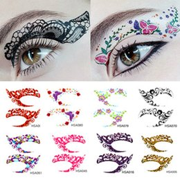 temporary eye shadow tattoos UK - Crazy Temporary Tattoo Stickers Girls Party Instant Eye Shadow Sticker Colourful Eye Rock Tool 12pairs lot RRA1742