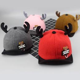 f1b4ea44ede Autumn and winter new children s baby hat 1 boy baseball cap girl antler cap  Korean 5 months -2 years old