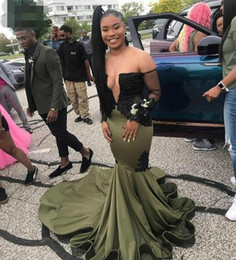sexy girls satin dresses UK - 2020 New Long Sleeves Olive Green Prom Dresses mermaid strapess African Black lace Girls Wear Formal Evening Party Custom Gowns Plus Size