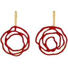 $enCountryForm.capitalKeyWord Australia - Fashion and Popular European and American Irregular Hollow-out Red and Black Flower Enamel Dangle Hook Earrings E5487
