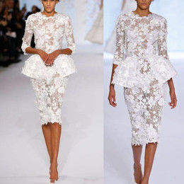 Chinese  Spring 2019 Little Evening Dresses Half Sleeves Knee Length Short Prom Lace Floral Haute Couture Ralph & Russo Sheath Formal Gowns manufacturers