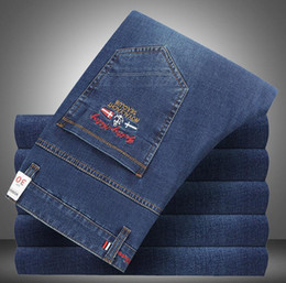 $enCountryForm.capitalKeyWord Australia - 2019 Hot sale Top quality Mens Jeans Shark pants Brand Eden Men Straight Dark blue pants Fashion Park Designer Jeans