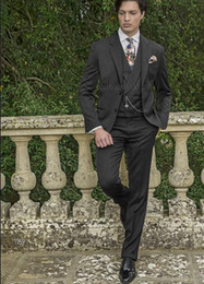 $enCountryForm.capitalKeyWord Australia - Dark Gray Groomsmen Wedding Groom Tuxedos for Prom Dinner Party Notch Lapel Men Suits 3 Piece Best Man Blazer (Jacket+Tie+Vest+Pants)