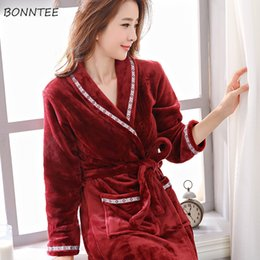 Robes Women Winter Flannel Thicker Long Sleeve Striped Printing Pockets Robe  Womens Soft Elegant Leisure Bathrobes Ladies Trendy 291d49076