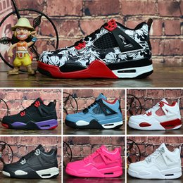 $enCountryForm.capitalKeyWord NZ - Cheap womens Jumpman 4 basketball shoes 4s Denim Black Cat Fire red Bred Oreo White J4 sneakers boots for youth kids baby boys