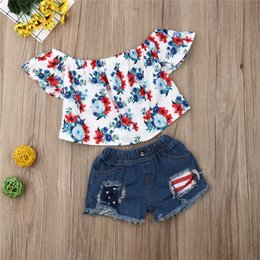 $enCountryForm.capitalKeyWord Australia - Kids Toddler Baby Girls clothes off shoulder pullover Floral print short sleeve T-shirts Button pocket Hole Shorts 3pc Outfits