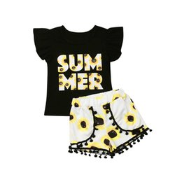 Floral Print Shirts Baby UK - 0-24 Months Baby Clothes Set Short Sleeve T-Shirt For Girls Black Letter Tops Girls Tops Floral Print Shorts Pant Children Set