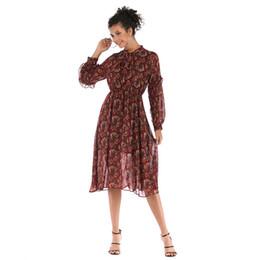 Wholesale swagger online – design 2019 Women s Bowls Broken Flower Chiffon Dress Long Loose Long sleeved Swagger Skirt
