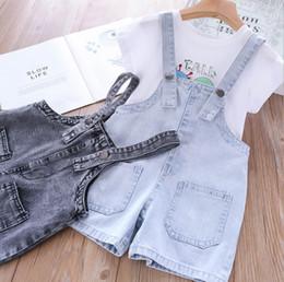 Kids Girls Jeans Jumpsuits Australia - 2019 New Kids denim suspender shorts summer girls double pocket jean shorts children cowboy jumpsuits kids out wear overalls F6160