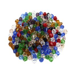 part animals Australia - 200 Pcs Lot Crystal diamond shape loose beads 4mm Geometric beads wholesale random mix color Jewelry Findings parts Components