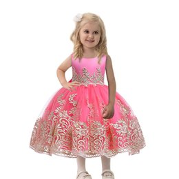 neck frock dresses UK - Girls Clothes vestidos infantils Formal Princess Dress Party Pageant Gown Little Girl Birthday Frocks