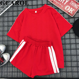 Summer Short Pants Set For Woman Australia - Gcarol New 2019 Summer Women 2 Piece Set Top And Shorts Elastic Waist Casual Tracksuits Summer Sport Active Outfits For Girls J190515