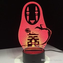 Action bAtteries online shopping - Miyazaki Hayao Anime D LED Lamp Spirited Away No Face Man Action Figures Decoration Doll Kids Toys Acrylic Colors Night Light