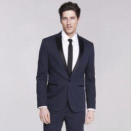 burgundy men prom suit 2019 - Handsome One Button Wedding Tuxedos 2019 Groomsmen Peak Lapel Groom Tuxedos Men Suits Prom Dinner Best Man Blazer(Jacket