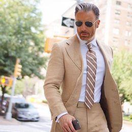 $enCountryForm.capitalKeyWord NZ - Groom Wear Terno Bridegroom Prom Suits 2Pcs Linen Mens Suits Casual Slim Fit Wedding Tuxedos Costume Homme Blazer