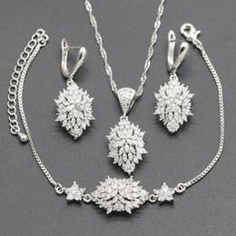 $enCountryForm.capitalKeyWord Australia - Silver Bridal Jewelry Sets White Zirconia for Women Wedding Necklace Pendant Drop Earrings Bracelet Gift Jewelry Box