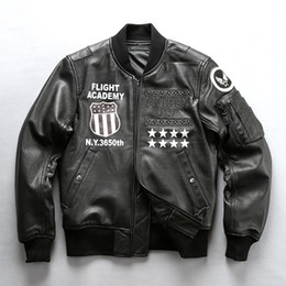 Wholesale genuine leather bomber men jacket resale online - Black AVIREX USA men genuine leather jackets Rivet stand collar MA1 flight bomber leather jackets