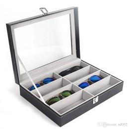 $enCountryForm.capitalKeyWord Australia - Eight Grid Glasses Storage Box Cortex Sunglasses Display Cases Leather Density Board Open Lid Design Fashion Black Square 22hxC1