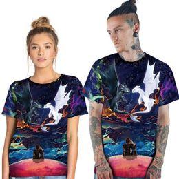 T Shirt Digital Printing Sport NZ - Fashion design 2019 new men and women couples night light white digital printing sports quick-drying T-shirt wild short-sleeved round neck s