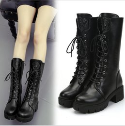 $enCountryForm.capitalKeyWord Australia - Fashionable European and American Mid-barrel New Waterproof Side-pulled Martin Boots Lace Girls Boots
